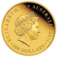 Australia - 200 AUD - 2oz 999 gold - 62.22 g - 41.1 mm - Mintage: 250 - Designer: Elise Martinson (reverse), Ian Rank-Broadley (obverse).