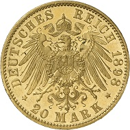 A 20 Mark 1898 of Ernst Ludwig Großherzog von Hessen from the Bundesbank Collection. Photo: Deutsche Bundesbank, Numismatische Sammlung.