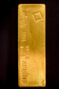 A Valcambi gold bar made in 2014. Photo: Deutsche Bundesbank, Nils Thies.