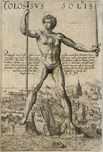 Copperplate engraving of the Colossus of Rhodes around 1580.