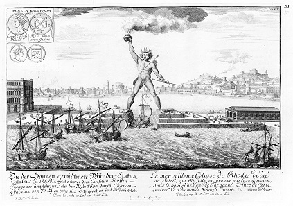 Copperplate engraving of the Colossus of Rhodes from 1721 – with coin images.