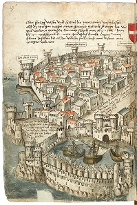 While many other ancient sites descended into insignificance during the Middle Ages, Rhodes, due to its strategic position, remained an important harbor and a station on the journey to the Holy Land. Wood engraving from 1487.