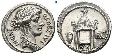 Lot 412: Roman Republic. Q. Cassius Longinus. Denarius, 55 BC, Rome. Extremely fine.