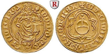 Frankfurt, Stadt. Goldgulden 1497. ss-vz. 1.600 Euro.
