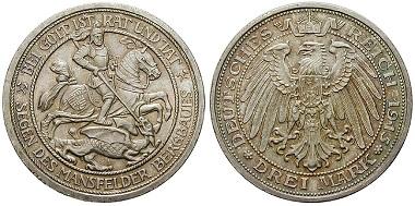 Deutsches Kaiserreich. Preußen. Wilhelm II. 3 Mark 1915. vz-st. 700 Euro.