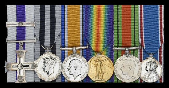 Lot 896: Military Cross, G.V.R., with Second Award Bar, unnamed as issued; King's Police and Fire Service Medal, G.VI.R., 1st issue, for Distinguished Service (Ronald L. Murray. County Insp. Royal Ulster Constab.); British War and Victory Medals (Lieut. R. L. Murray.); Defence Medal; Coronation 1937, light contact marks, very fine and better (6). Estimate: 1,800-2,200 GBP.