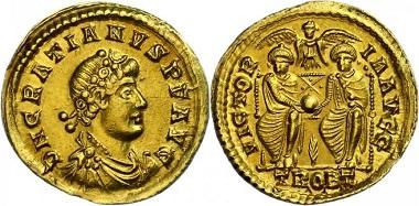 Los 168: Gratianus, 367-375. Solidus, Treveri. vz. Taxe: 1.800,-
