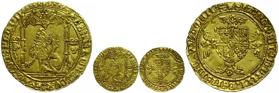 Los 278: Flandern. Philipp der Gute. Lion d'or, o.J. (1419-1467). ss-vz. Taxe: 1.000,-