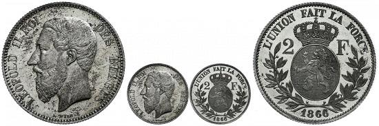 Los 1347: Belgien. Leopold II., 2 Francs 1866, Probe. PP. Taxe: 1.000,-