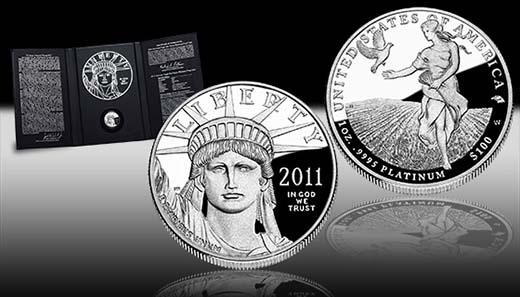 2011 American Eagle - USA - 100 USD - 1oz 9995Feinplatin - Auflage: 15.000.