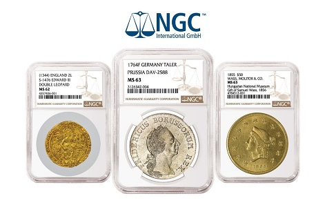 Among the rarities graded at the first NGC on-site grading event in Munich in March 2018 were three Wass, Molitor & Co. gold coins from the collection of the Hungarian National Museum (right).