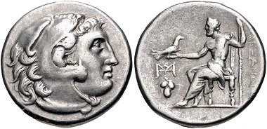 Lot 110: Kings of Macedon. temp. Antigonos I Monophthalmos – Lysimachos. Tetradrachm, circa 310-290 BC, uncertain mint in western Asia Minor. From the Colin E. Pitchfork Collection. Apparently unique. VF. Estimate: $200.