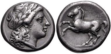 Lot 370: Roman Republic. Anonymous. Didrachm, circa 235 BC, Rome mint. VF. From the Andrew McCabe Collection. Estimate: $1,000.