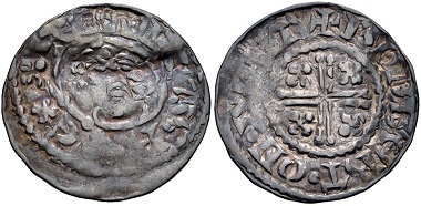 Lot 557: Plantagenet. Henry II., 1154-1189. Penny. Short Cross type, class Ib1. Wilton mint. Struck in the name of Henry II, 1180-circa 1182. VF, toned, obverse double struck, flan bent. Ex 1970 Gisors (Eure) Hoard. Estimate: $100.