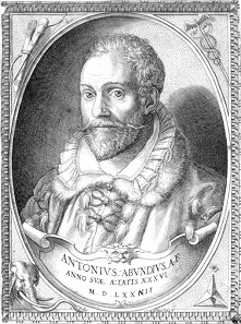 The Italian medalist and wax sculptor Antonio Abondio the Younger (1538-1591) in an engraving by Martino Rota (1520-1583).