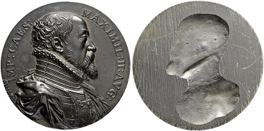 Onesided bronze cast medal for Emperor Maximilian II. By Antonio Abondio. From Sincona auction 47 (May 16, 2018), Lot 1990.