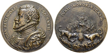 Bronze cast medal 1566 for Johann VII. Freiherr von Khevenhüller. By Antonio Abondio. From Sincona auction 47 (May 16, 2018), Lot 1993.