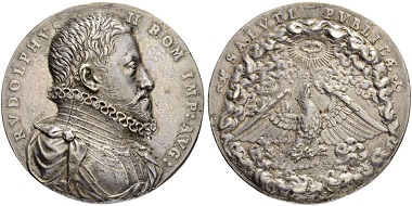 Silver medal for Emperor Rudolf II, 1576-1612. Model by Antonio Abondio. From Sincona auction 47 (May 16, 2018), Lot 2033.