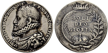 Silver cast medal 1586 for Archduke Ernst (b. 1553, d. 1595). Die by Antonio Abondio. From Sincona auction 47 (May 16, 2018), Lot 2054.