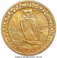 Lot 4459: 1915-S $50 Panama-Pacific 50 Dollar Round MS66 PCGS Secure. CAC. Realized: $336,000.