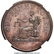 Lot 3064: Lower Canada. Pattern BON POUR DEUX SOUS Penny 1812 PR65 Brown NGC. Realized: $50,400.