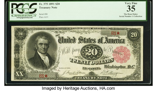 Lot 20057: Fr. 375 Serial Number One $20 1891 Treasury Note PCGS Very Fine 35. Realized: $114,000.