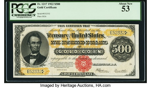 Lot 22510: Fr. 1217 $500 1922 Gold Certificate PCGS About New 53. Realized: $90,000.