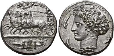 Los 24: Sizilien. Syrakus. Dekadrachme, signiert von Kimon, 410-400 v. Chr. vz/fast stgl. Schätzung: 100.000 CHF.