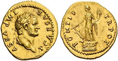 Los 118: Titus Caesar, 69-79. Aureus, 74. Gutes vz. Schätzung: 25.000 CHF.