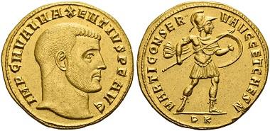 Los 135: Maxentius, 306-312. Quaternio (4 Aurei), 307, Karthago. Unikum. vz. Schätzung: 100.000 CHF.