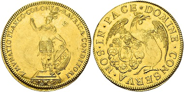 Los 280: Schweiz. Basel. 6 Dukaten o. J. (Anfang 18. Jahrhundert). Von allergrößter Seltenheit. Das Stück war von jeher im Privatbesitz der Familie und ist im Handel nie vorgekommen. Sehr schön-vorzüglich. Schätzung: 45.000 CHF.