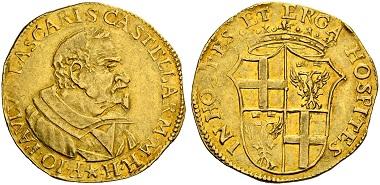 Los 772: Malteserritter. Jean-Paul Lascaris Castellar, 57. Großmeister, 1636-1657. Dublone oder Doppelzecchine zu 40 Tari, o.J. (1641). Äußerst selten, weniger als 10 Exemplare sind bekannt. Fast vz. Schätzung: 50.000 CHF.