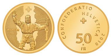 Schweiz / 50 Franken / .900 Gold / 11,29 g / 25 mm / Design: Angelo Boog / Auflage: 4.250.