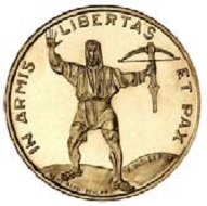 The newly designed 25-francs-coin.