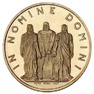 The newly designed 50-francs-coin.