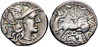 Lot 493: Sex. Pompeius Fostlus. Denarius, 137 BC. From the Jonathan P. Rosen Collection. VF, iridescent tone. Estimate: $150.