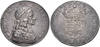 Lot 775: Great Britain. Charles II., 1660-1685. Medal, Pattern Broad by T. Simon. Dated 1660. From the Anthony Halse Collection of British Pattern Coins. VF, toned, some light marks. Estimate: $500.