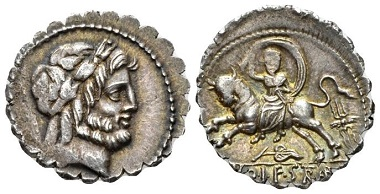 Lot 544: L. Volteius L. f. Strabo. Denarius serratus, 81. Very rare. Lovely old cabinet tone, minor area of weakness, otherwise Extremely Fine. Starting bid: 200 GBP.