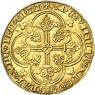 No. 703: Rummen. Arnold of Oreye, 1355-1370. Cavalier d'or, no date, Rummen. Extremely rare. Nearly extremely fine. Estimate: 5,000 euros.