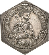 Nr. 1267: Siebenbürgen. Michael Apafi, 1661-1690. Sechseckige Reichstalerklippe 1663, Arx Fogaras. Äußerst selten. Vorzüglich. Taxe: 30.000,- Euro.