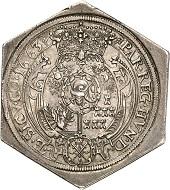 No. 1267: Transylvania. Michael Apafi, 1661-1690. Hexagonal reichstaler klippe 1663, Arx Fogaras. Extremely rare. Extremely fine. Estimate: 30,000 euros.