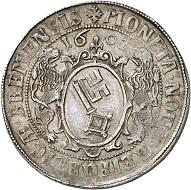 Nr. 2762: Bremen. Reichstaler 1602. Sehr selten. Vorzüglich. Taxe: 15.000,- Euro.
