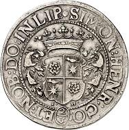 Nr. 4160: Lippe. Simon Heinrich, 1666-1697. 24 Mariengroschen (2/3 Taler) 1683 (geprägt 1683/84), Detmold. Sehr selten. Sehr schön. Taxe: 5.000,- Euro.
