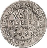 No. 4160: Lippe. Simon Heinrich, 1666-1697. 24 mariengroschen (2/3 taler) 1683 (struck in 1683/84), Detmold. Very rare. Very fine. Estimate: 5,000 euros.
