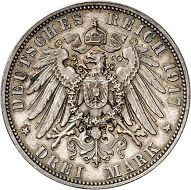 No. 5240: German Empire. Saxony. Friedrich August III, 1904-1918. 3 mark 1917. Friedrich der Weise. Rarest silver coin of the German Empire. Extremely fine to FDC. Estimate: 50,000 euros.