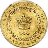 """No. 6217: Australia. Victoria, 1837-1901. Pound 1852. """"Adelaide Pound"""". Very rare. Extremely fine to FDC. Estimate: 20,000 euros."""