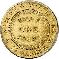 """Nr. 6217: Australien. Victoria, 1837-1901. Pound 1852. """"Adelaide Pound"""". Sehr selten. Vorzüglich bis Stempelglanz. Taxe: 20.000,- Euro."""