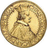 No. 6419: Austrian Mediatized Houses. Ortenburg. Christoph Widmann, Cardinal 1640-1660. 5 ducats 1656, St. Veit. Very rare. Extremely fine. Estimate: 20,000 euros.