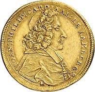 Nr. 6645: Passau. Johann Philipp von Lamberg, 1689-1712. 2 Dukaten 1701, Augsburg. Äußerst selten. Fast vorzüglich. Taxe: 20.000,- Euro.