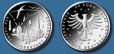 """Die neue 20-Euro-Sammlermünze """"800 Jahre Rostock"""". Quelle: BADV."""